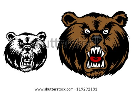 Head of angry bear for mascot design. Jpeg version also available in gallery - stock vector