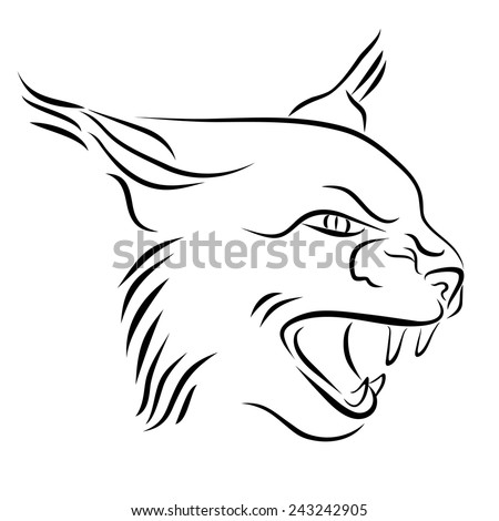 Head of angry lynx. Black and white illustration with head of wild cat with bared teeth. Hand drawn sketch. Ink painting. Design element useful for logo. Vector file is EPS8. - stock vector