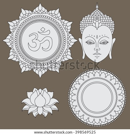 Head of Buddha. Om sign. Hand drawn lotus flower. Isolated icons of Mudra. Beautiful detailed, serene. Vintage decorative elements. Indian, Hindu motifs vector - stock vector