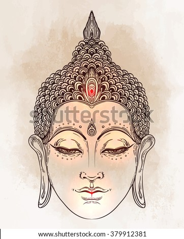 Head of Buddha. Vector illustration over vintage background. Beautifully detailed face, serene. Vintage decorative elements. Indian, Buddhism, Spiritual motifs. Tattoo, yoga, spirituality.