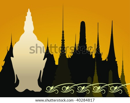 head of buddha with buddhist temple as a backgound - stock vector