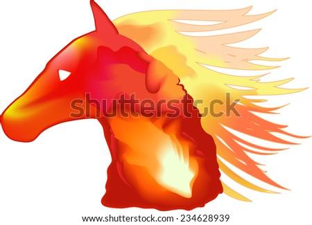Head of burning horse - stock vector