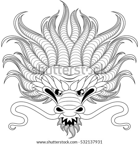 head of chinese dragon in zentangle style for tatoo adult antistress coloring page black - Chinese Dragon Head Coloring Pages