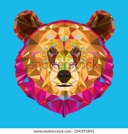 Head of grizzly bear in geometric pattern, Vector format - stock vector