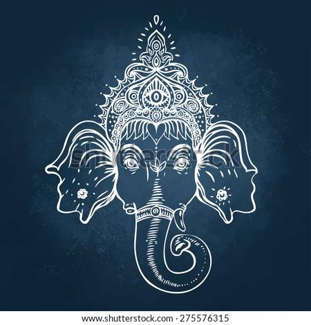 Head of Hindu god Ganesha. Vector illustration over a blackboard. - stock vector
