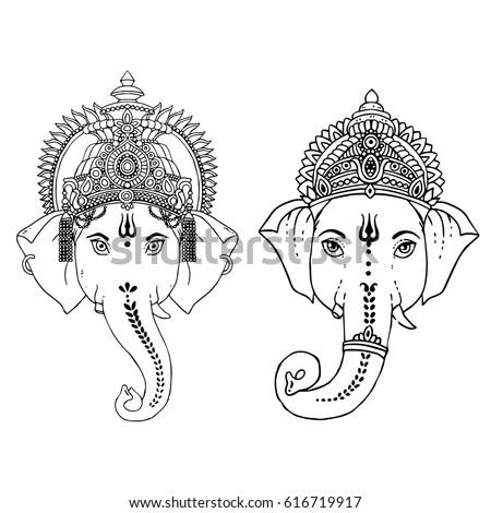 Head Hindu Lord Ganesha Vector Illustration Vector de stock (libre ...