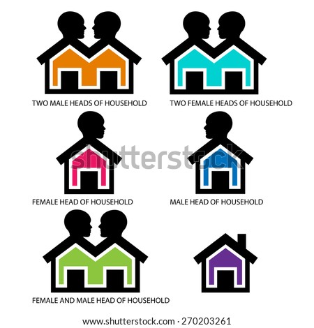 Head of households icons - Houses with heads  -    combinations for head of households: male &female,lone female,lone male,male and male,female and female   - stock vector