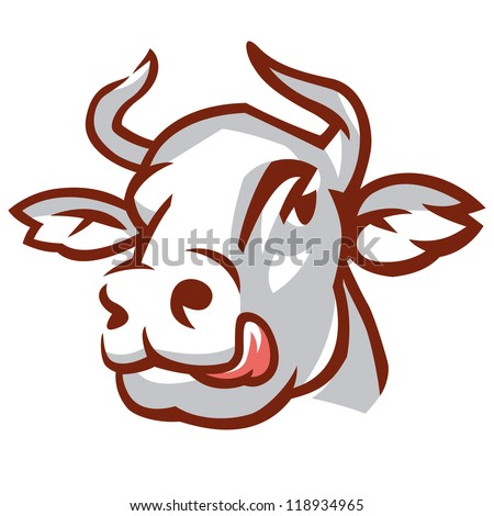 Head of Licking Cow. Stylized Drawing. Vector Illustration - stock vector