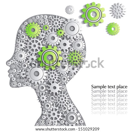 Head of  person is full of fine ideas, creative card. - stock vector
