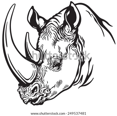Rhino head stock images royalty free images vectors shutterstock head of rhinoceros black and white image ccuart Gallery