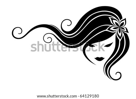 Head of the girl with long hair on a white background - stock vector