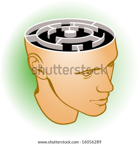 Head of the man with a labyrinth on green background - stock vector