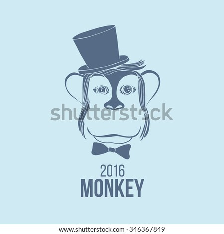 Head of the monkey. Vector logo symbol of chinese horoscope 2016 in trendy flat style