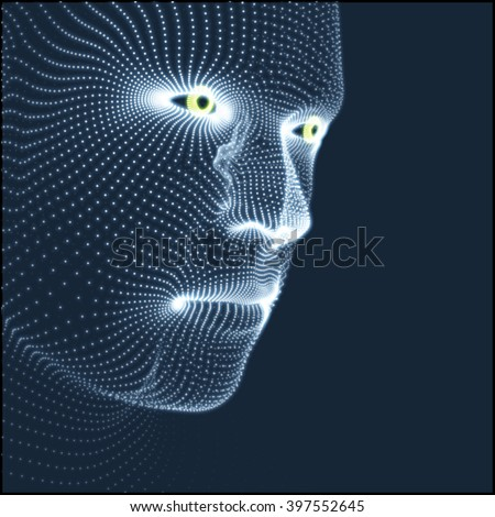 Head of the Person from a 3d Grid. Human Head Model. Face Scanning. View of Human Head. 3D Geometric Face Design. 3d Covering Skin. Geometry Man Portrait. Can be used for Avatar, Science, Technology - stock vector