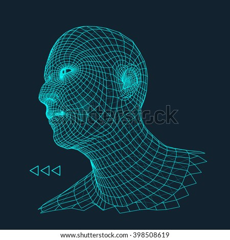 Head of the Person from a 3d Grid. Human Head Wire Model. Human Polygon Head. Face Scanning. View of Human Head. 3D Geometric Face Design. 3d Polygonal Covering Skin.  - stock vector