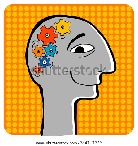 Head of the person.The schematic image of brain work. - stock vector