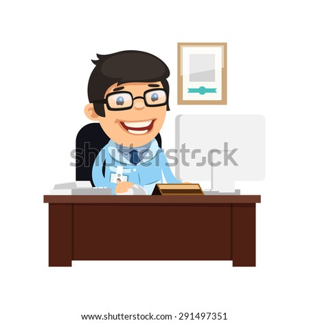Head Physician at His Desk. Isolated on white background. - stock vector