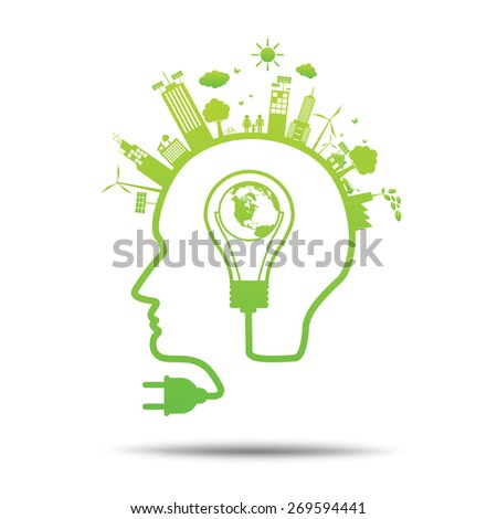 Head power green concept world in bulb ecology City environmentally friendly  . - stock vector