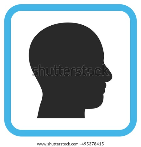 Head Profile blue and gray vector icon. Image style is a flat icon symbol in a rounded square frame on a white background.