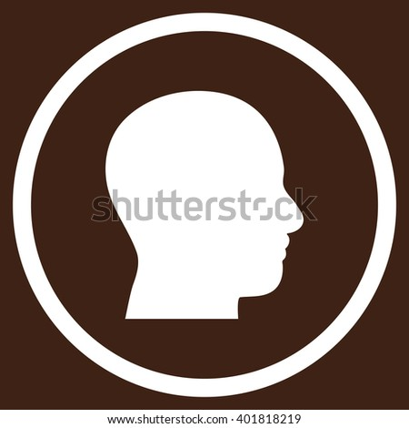 Head Profile vector icon. Image style is a flat icon symbol inside a circle, white color, brown background.