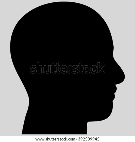 Head Profile vector icon. Image style is flat head profile pictogram symbol drawn with black color on a light gray background.