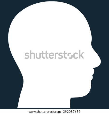 Head Profile vector icon. Image style is flat head profile pictogram symbol drawn with white color on a dark blue background.