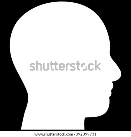 Head Profile vector icon. Image style is flat head profile pictogram symbol drawn with white color on a black background.