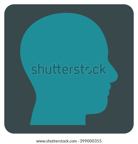 Head Profile vector pictogram. Image style is bicolor flat head profile icon symbol drawn on a rounded square with soft blue colors.