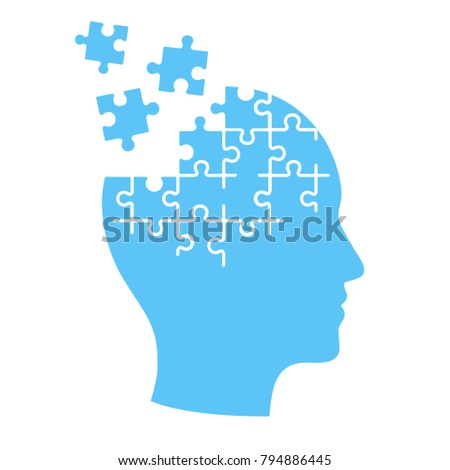 Head profile with jigsaw puzzle pieces falling apart. Alzheimers and dementia, mental illness and brain disorder vector illustration.