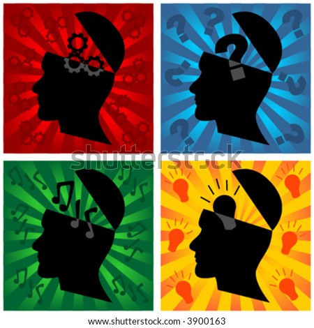 Head silhouette representing different thoughts - stock vector