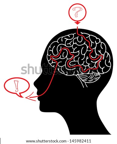 Head silhouette with brain maze solving a task - stock vector