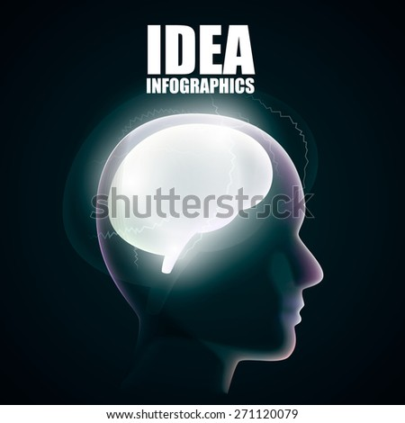Head silhouette with brain. Vector illustration - stock vector
