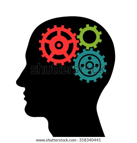 Head silhouette with colored gears. Vector illustration.