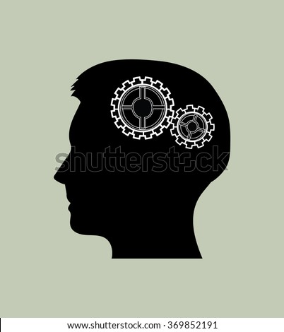 Head silhouette with gears. Head thinking icon.