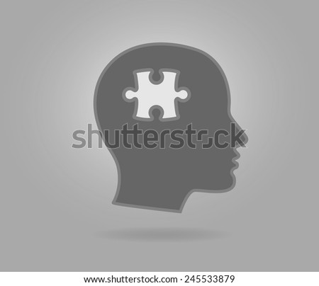 Head silhouette with puzzle piece - stock vector