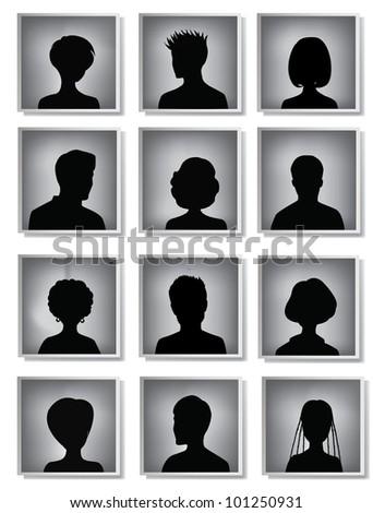 head silhouettes - stock vector