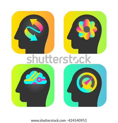 head silhouettes with brain and intelligence - stock vector