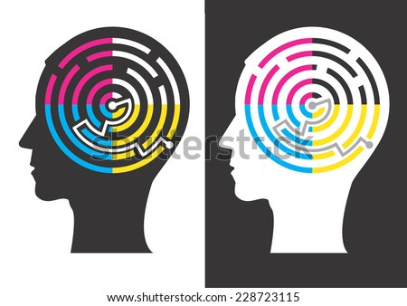Head silhouettes with Labyrinth of print colors. Head silhouettes with Labyrinth of print colors symbolizing successful solution of color printing. Vector illustration.  - stock vector