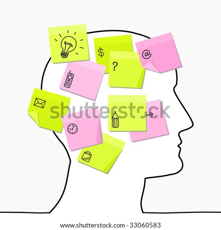 head & sticky notes - stock vector