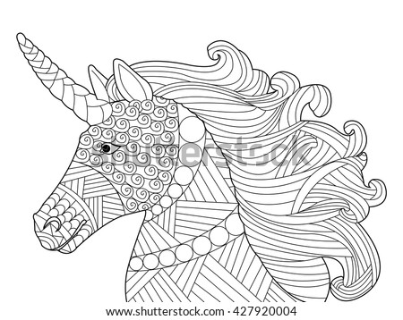 Head Unicorn Coloring Book For Adults Vector Illustration Anti Stress Adult