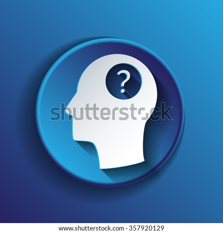 Head with a question mark. Avatar wonders. Icon help - stock vector