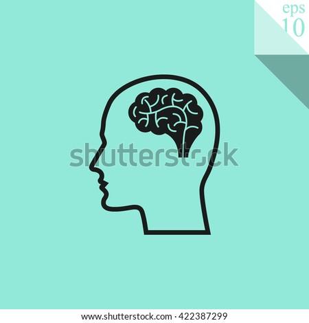 Head with brain Icon.  - stock vector