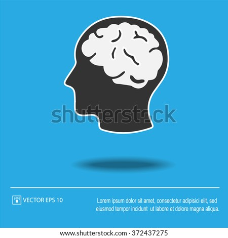 Head with brain icon on blue background. Head with brain symbol. Vector illustration EPS 10. - stock vector