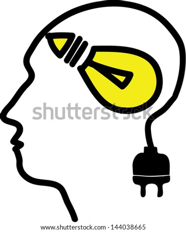 Head with bulb symbol and plug, simple vector illustration - stock vector