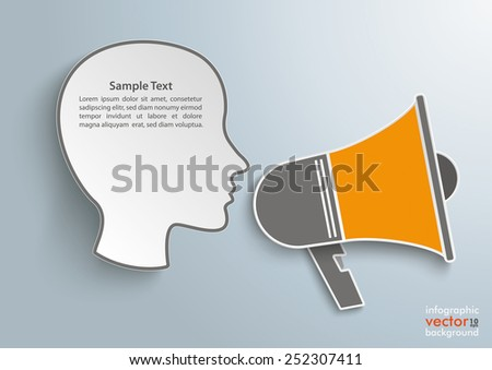 Head with bullhorn on the gray background. Eps 10 vector file. - stock vector