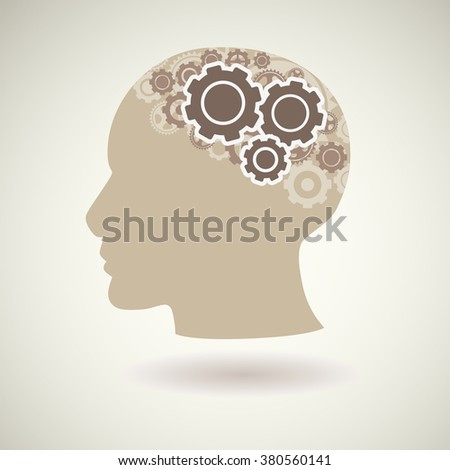Head with gears icon, vector illustration. - stock vector