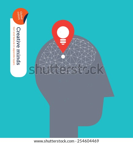 Head with gps icon and bulb with techno brain. Vector illustration Eps10 file. Global colors. Text and Texture in separate layers. - stock vector