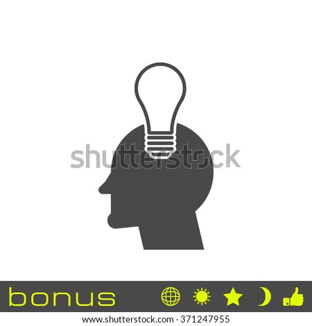 head with light bulb icon - stock vector