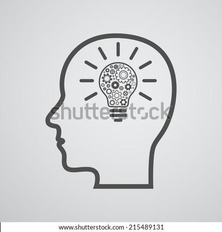 head with lightbulb and gears - idea creative design - stock vector
