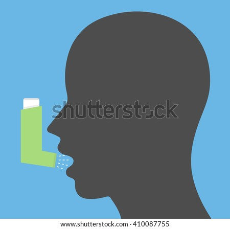 Head with open mouth and inhaler spray